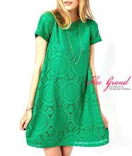 Vestidos Femininos Woman Casual Dress 2016 Summer Short Sleeve O-Neck Plus Size Lace Mini Dresses Vestido De Renda S-3XL WQS062(China (Mainland))