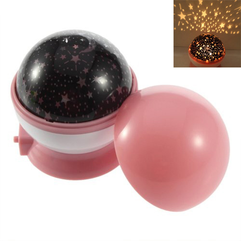 USA Stock! New Pink Rotation Starry Star Moon Sky Romantic Night Projector Light Lamp(China (Mainland))