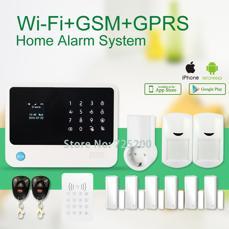 Iphone Ipad Android APP control wifi alarm system G90B with keypad and RF smart socket remote control home appliance<br><br>Aliexpress