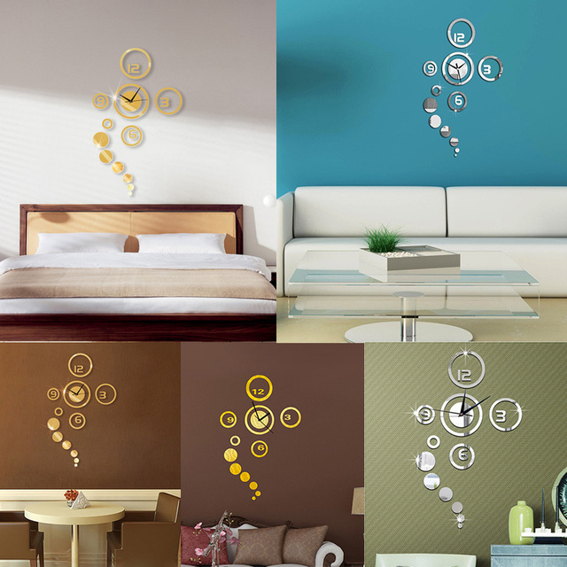 Removable Mirror Wall Clock Wall stickers DIY Decal Vinyl ...