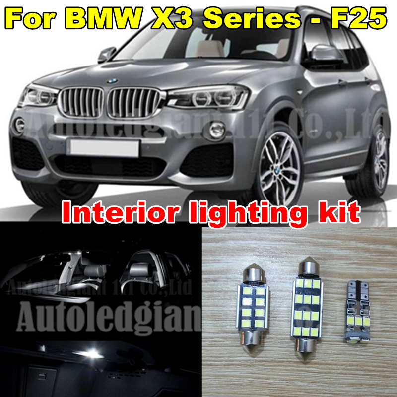 20x Pure White Error Dome Vanity Canbus LED BMW X3 Series F25 Interior lighting kit -2011 2012 2013 2014 Pack Bulb - WLJH Carparts Store store