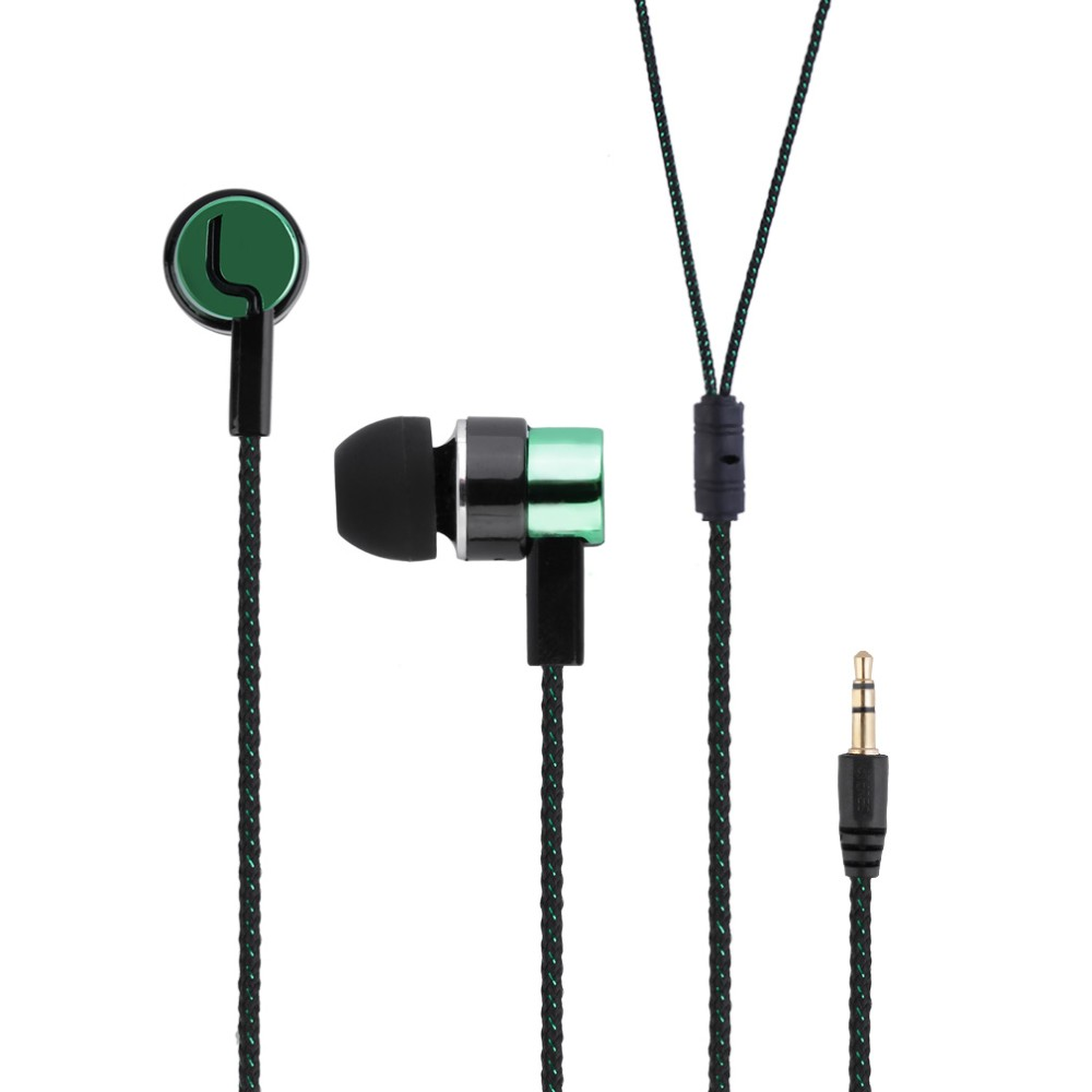 2016 Metal Earphones Jack Standard Noise Isolating Reflective Fiber Cloth Line 3.5mm Stereo In-ear Earphone Earbuds