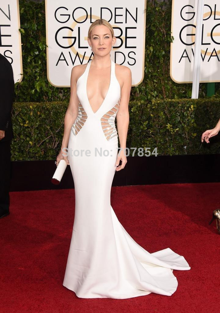 DHL Kate Hudson White Mermaid Beaded 2015 72nd Golden Globe Awards Evening Gowns Hot Red Carpet Dress TPD334  -  3C Electronic Co., Ltd. store