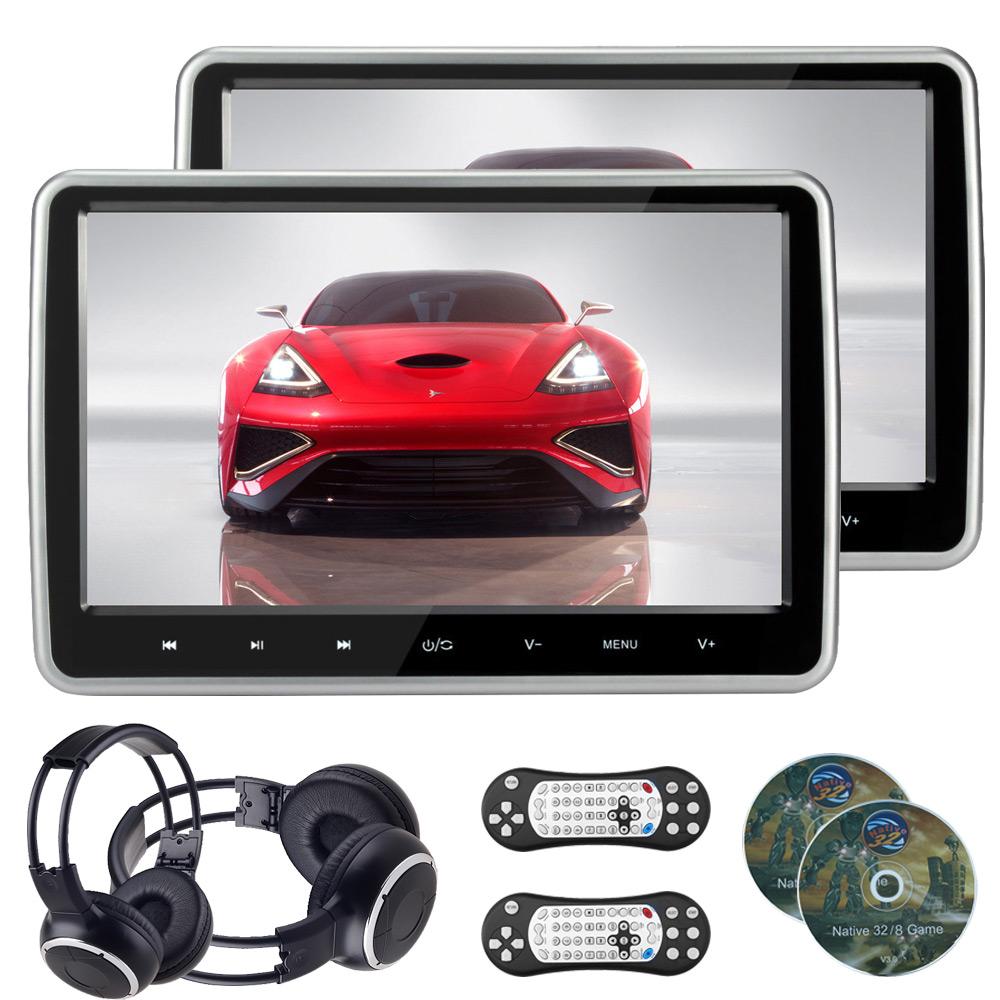 2pcs 10.1 inch HD touch Screen auto Car Headrest monitor DVD player & IR headphone USB/SD/HDMI/FM 32 Bit Game Remote Control(China (Mainland))