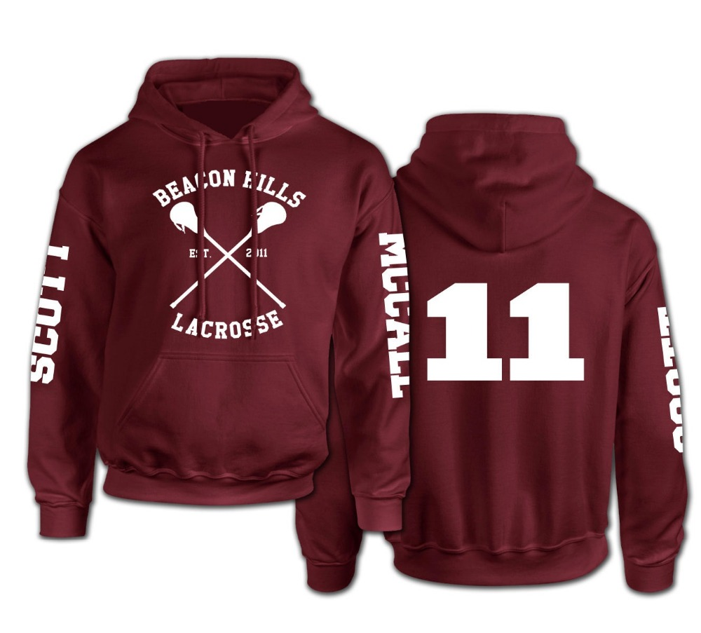 Beacon Hills Lacrosse Logo Wolf Men Hooded Hoodie TeenWolf Stiles Stilinski Teen Sweatshirt Men Pullover Front And Back Printing(China (Mainland))