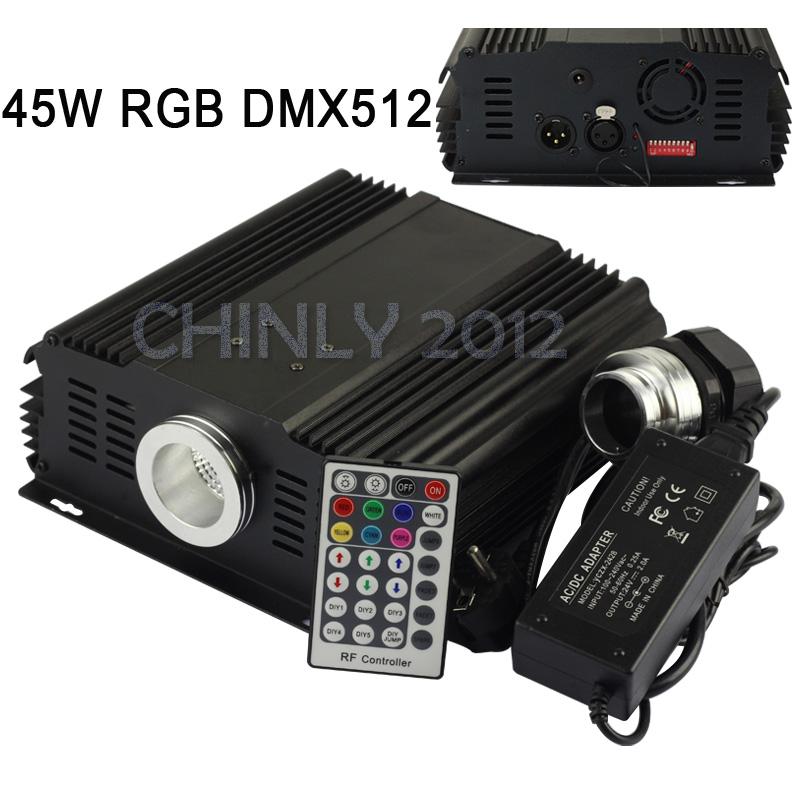 DMX 45W RGB LED Fiber Optic Engine Driver+28key RF Remote controller for all kinds fiber optics(China (Mainland))