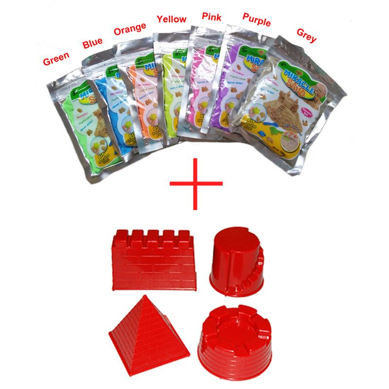 2015 Children Indoor Magic Sand Molds Set Includes 7 Different Colors Play Miracle Sand 100g/bag + Castle Model Toys 4 piece