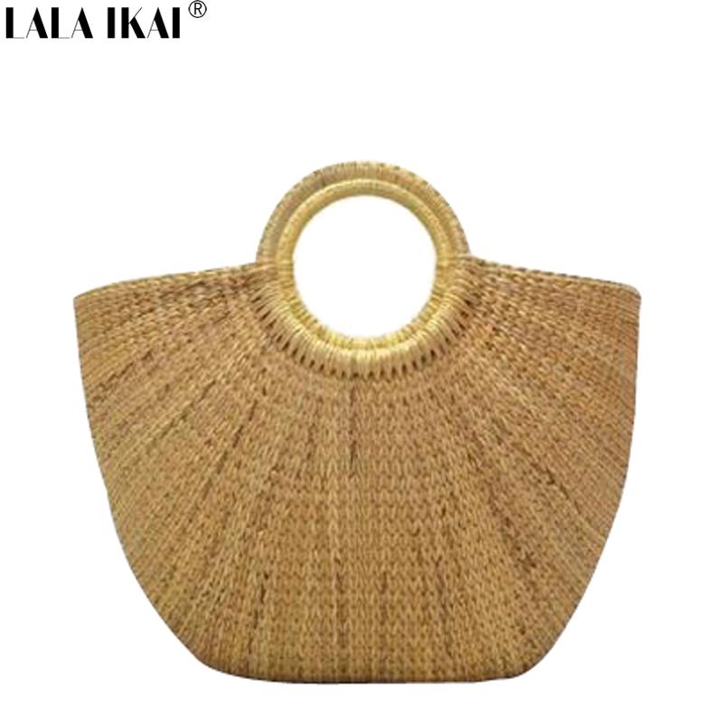 New Spring Summer Fashion Bags 2016 Simple Casual Tote Straw Beach Tote  Ladies Handbag Women's Bag Half Moon BWC0822