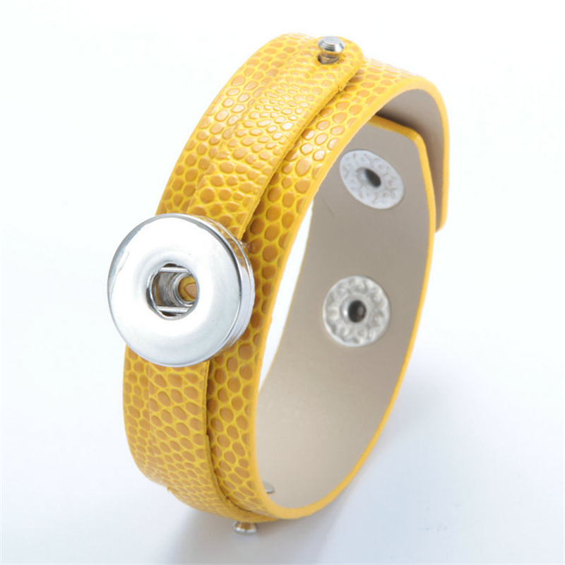 18mm (12 pieces/lot) Fashion design newest metal snap button yellow pu leather bracelets for girls(China (Mainland))