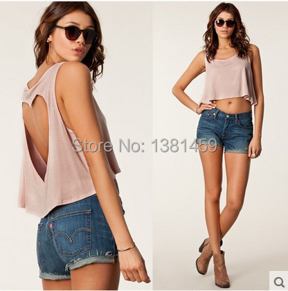 2015 Summer Spring crop top/Sexy back Love hollow vests/Fashion tops women t shirt camisetas y tops/camisetas mujer - luneng Hat industry store