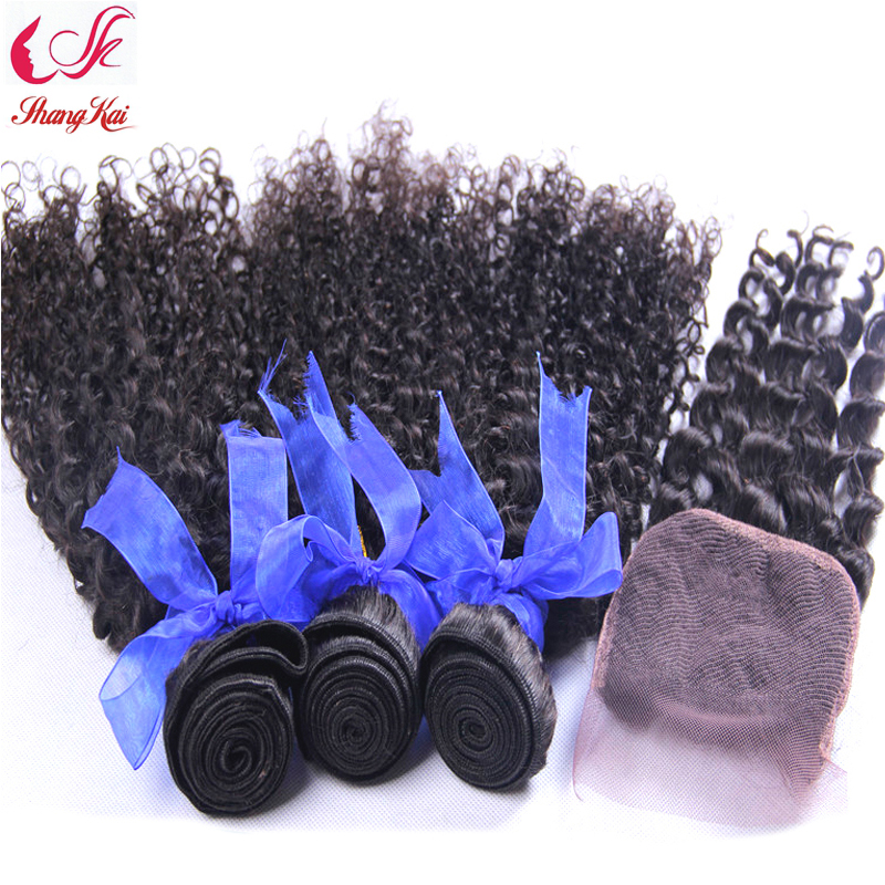 Здесь можно купить  Shangkai malaysian kinky curly virgin hair 3pcs hair bundles with lace closures cheap grace hair products DHL free shipping Shangkai malaysian kinky curly virgin hair 3pcs hair bundles with lace closures cheap grace hair products DHL free shipping Волосы и аксессуары