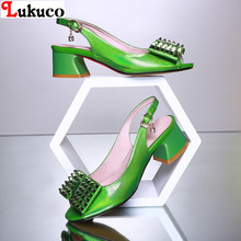 2016 Popular Peep Toe Printing Leather ELEGANT STYLE women shoes EUR Size 40 41 42 43 44 45 low heels sandals - LUKU CO., LIMITED store