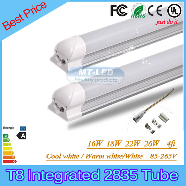 25PCS SMD 2835 T8  Integrated LED tube light fluorescent lamp 16W 18W 22W 26W 4ft 1200mm 85-265V led tubes warranty 3 years(China (Mainland))
