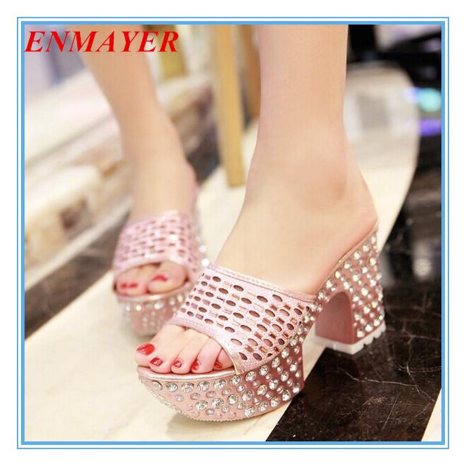 ENMAYER  Sweet Pink Women Slides  Wedding Personalized Rhinestone High Sandals Fashion Platform Sandals New 2015women Sandals<br><br>Aliexpress