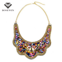 Women Net Fit Collar Choker Necklace Fashion Multicolor Resin Glass Bead Statement Necklaces & Pendants Bohemia Jewelry Colar(China (Mainland))