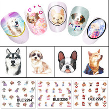 1 Sheet New Styles Cute Dog Water Transfer Nail Sticker Fashion Nail Art Nails Decal DIY Beauty Decorations Cool BLE2292-2302