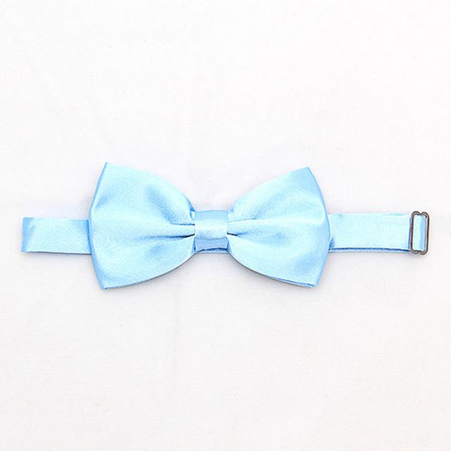Fashion Men's Pure Plain Bowtie Polyester Pre Tied Wedding Bow Tie(2pcs/lot)