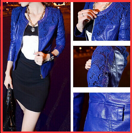 2015 Spring Leather Jacket Women Fashion Slim Lace Patchwork PU Long Sleeve O-Neck Veste Cuir Femme - beautifulforever store