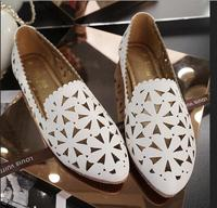 Spring Summer Style Ladies Comfortable Pu Leather Casual Shoes Plus Size 34-43 Fashion Women Pointed Toe Cut Outs Flat Shoes 57