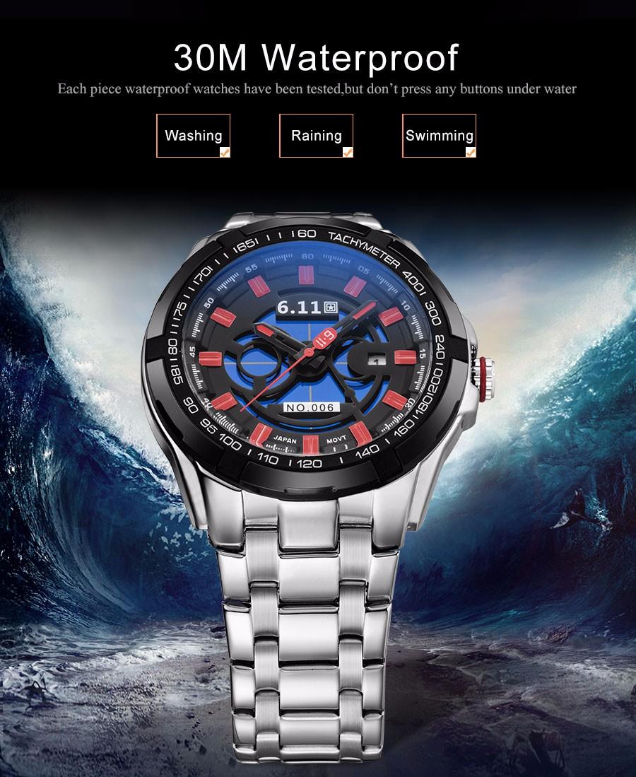 6.11 мода повседневная мужская спортивная кварцевые часы бренда солнечных батареях скелет наручные часы стальной ленты 30 М Водонепроницаемый reloj hombre