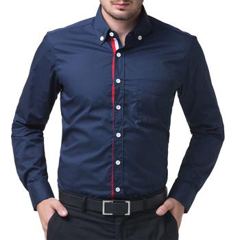 Синий / голубой / белый мужские кнопку рубашку сорочка Homme уменьшают подходящий длинные рукава рубашки известный бренд социальной рубашка CL5248