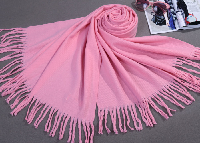 Winter Hottest Pink Women's Faux Cashmere Scarf Fringe Long Tippet Solid Color Wrap 20 Colors Available Size 180 x 69cm(China (Mainland))