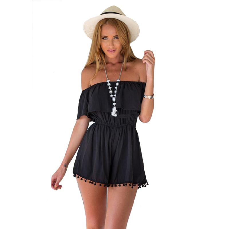... Shoulder Tassle Black White High Waist Party Playsuit Jumpsuit Romper