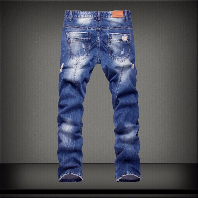 Скидки на Высочайшее качество мужские промывают и отбеленные тенденции моды проблемных джинсы личности разорвал сломанной отверстие джинсовые брюки для мужчин