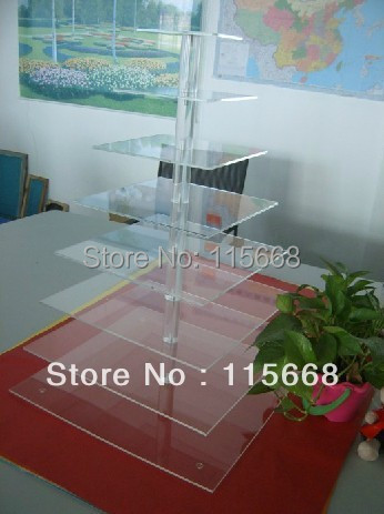 Free Shipping 8 Tiers Clear Counter Square Maypole Rod Acrylic Cupcake Cake Stand Rack(China (Mainland))