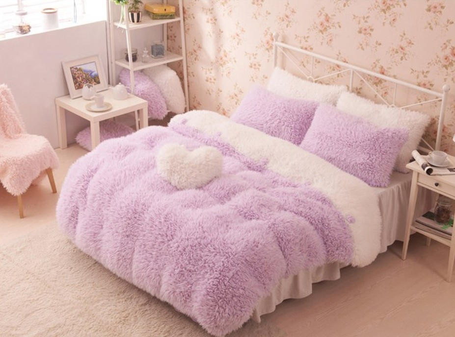 Supper 5pcs high quality flannel velvet princess comforter for Bedroom ideas velvet bed