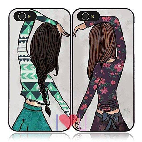 Happy Girls Best Friends BFF Pair back skins cellphone case cover fits iphone 4/4s 5/5s SE 6/6s plus ipod touch4/5/6  -  I LOVE U store