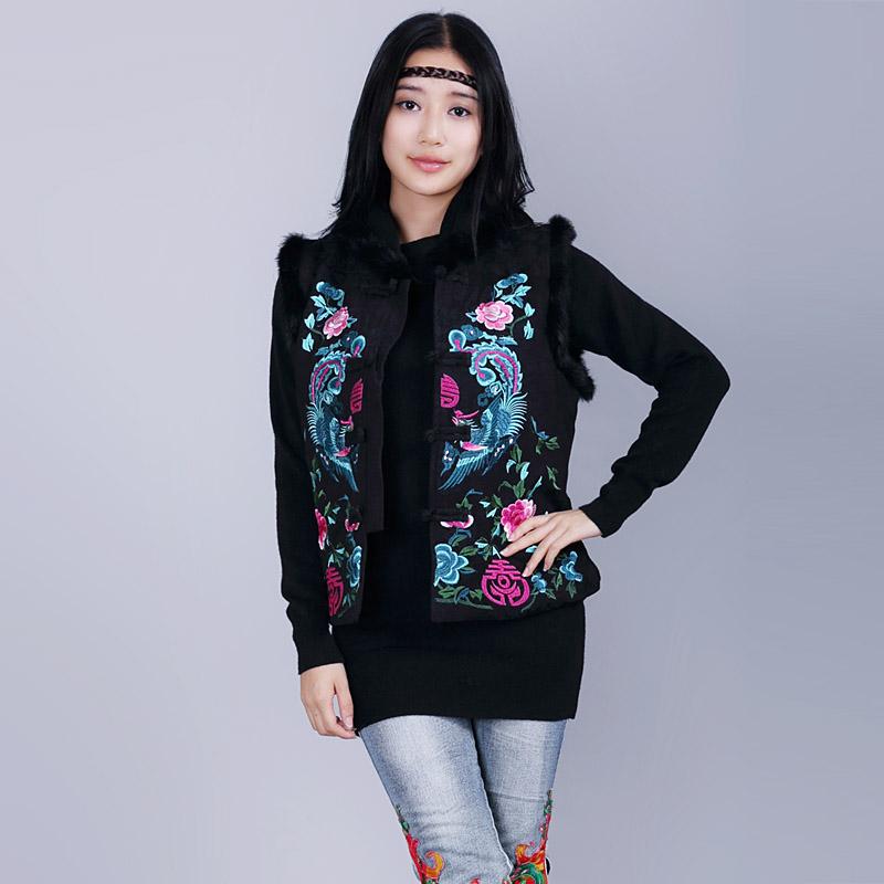 National trend womens fluid embroidered rabbit fur vest sleeveless vest d414Одежда и ак�е��уары<br><br><br>Aliexpress