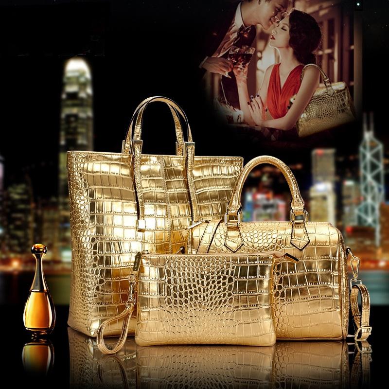 3pcs/Set Luxury Gold PU Leather Alligator Grain Women Tote Bag Boston Bag Handbag Messenger Shoulder Bag Evening Clutch 6336(China (Mainland))