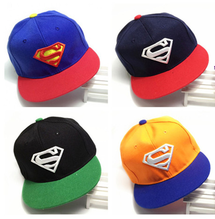 2016 New Brand Children Superman Baseball Cap Kids Boys And Girls Bone Sports Fashion Snapback Hip Hop Caps Baby Casquette Hat(China (Mainland))