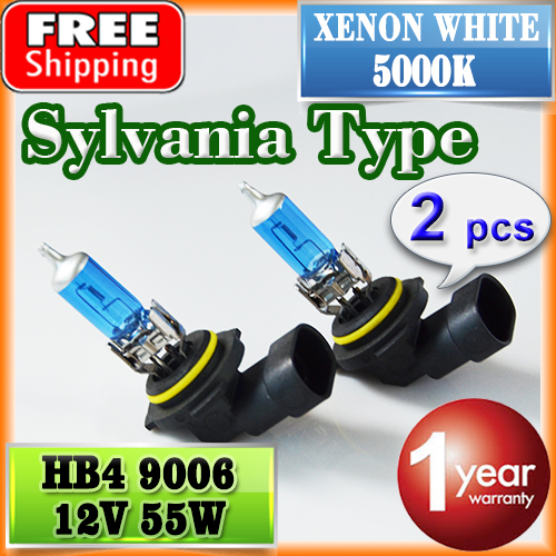 2 PCS(1 Pair) Sylvania Type 9006 HB4 Bulb Schott Glass 12V 55W 5000K Super White HIgh Quality Car Halogen Lamp FREE SHIPPING(China (Mainland))