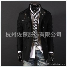 2015 Fashion Warm Men Trench Coat Cotton Polyester Long Sleeves Autumn Winter Overcoat slim Korean Outerwear Trench Coat Men(China (Mainland))