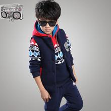 The 15 winter suits, Chinese children warm cotton three piece clip thickened children sweater(China (Mainland))