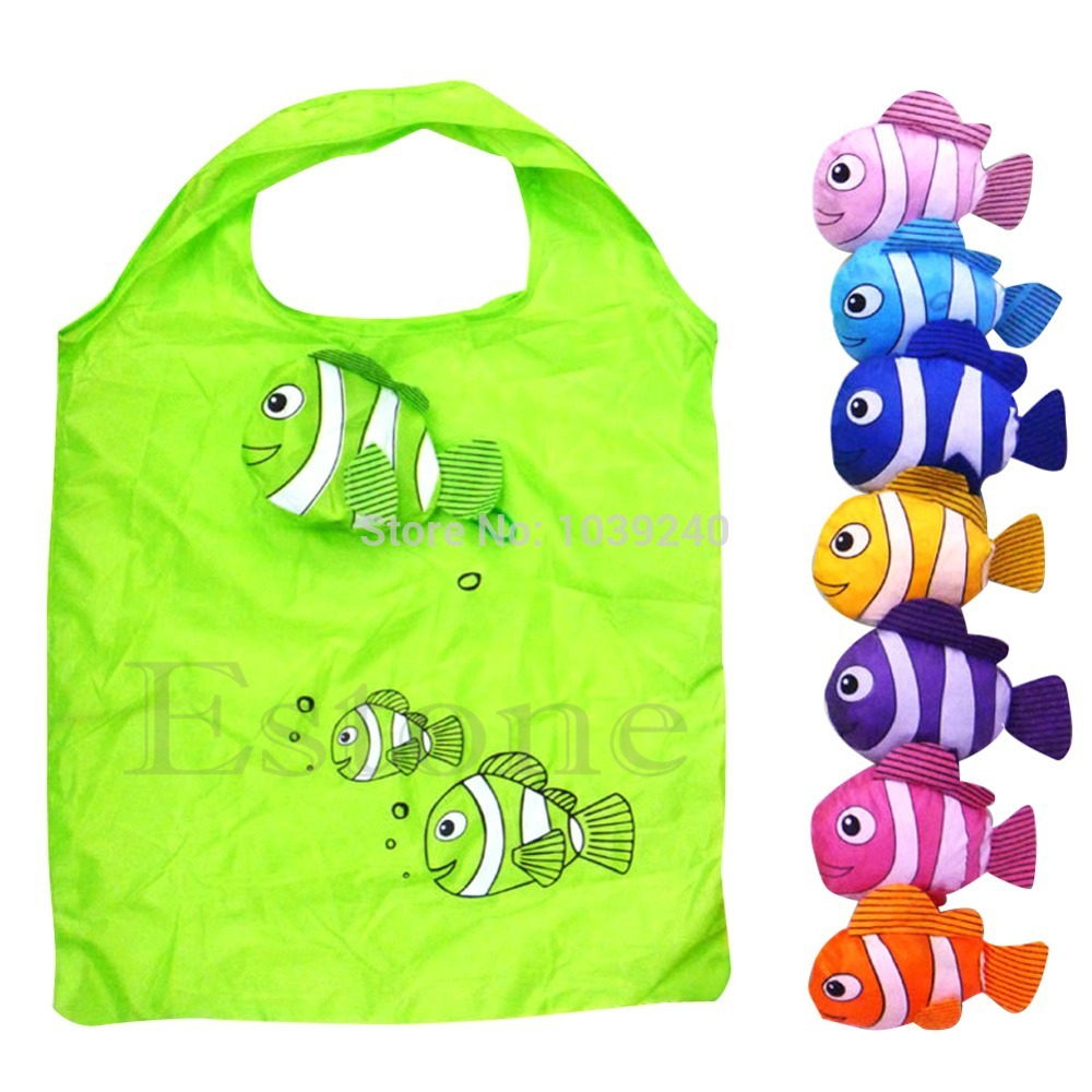 L155 Free Shipping Hot Fashion Little Fish Reusable Folding Shopping Bag Travel Grocery Bags Tote<br><br>Aliexpress