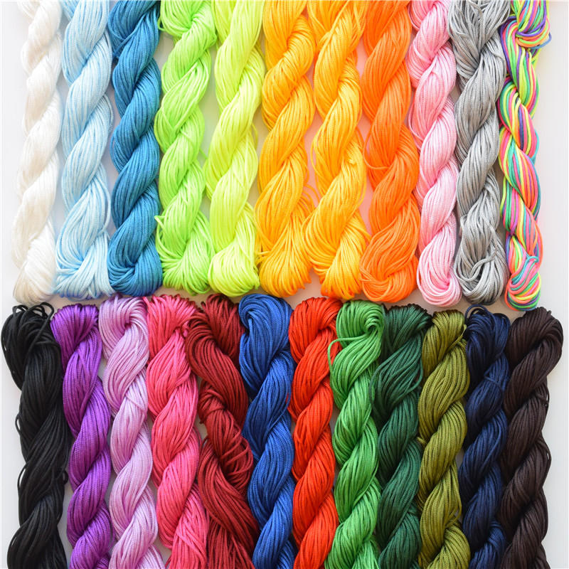 22 Colors 1mm 25M Cotton Polyester Cord Rope for diy Bracelet Necklace Jewelry Findings & components Making Supplies Mix Color(China (Mainland))