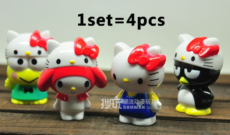 Free Shipping very Cute 4pcs/set mini Hello Kitty PVC Toy Figure Wholesale and retail mini kitty figure toys for kids(China (Mainland))
