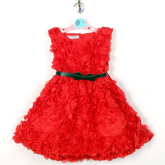 baby girls dress customes kids clothes toddler children clothing flower belt red pink vestidos roupas infantil meninas infantis(China (Mainland))