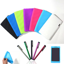 2015 Hot new fashion Lenovo Tab 2 7inch Silicone case Cover For lenovo tablet a7-10/a7-10F case+Stylus