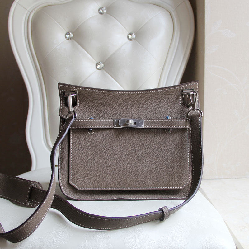 100% Hand Stitching  Authentic H Clemence 28CM Gypsy gray Etoupe women messenger bags<br><br>Aliexpress