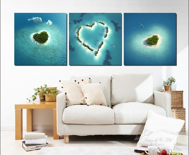 BANMU 3 Panels Unframed Canvas Photo Prints Heart-Shaped Island Wall Art Picture Canvas Paintings Wall Decorations Home Decor(China (Mainland))