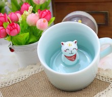 Free Shipping Handmade Mini Lovers Cat Ceramic Coffee Cup