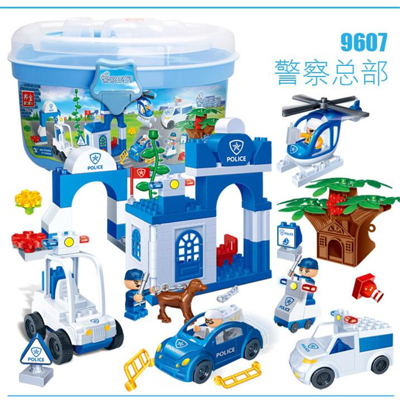 Big Building Blocks bus Compatible with Legoe Police Station truck City Plane ship Motorcycle duploed 88Pcs<br><br>Aliexpress