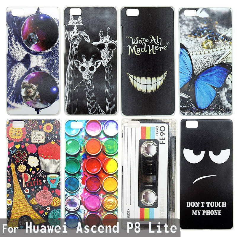 Case For Huawei Ascend P8 Lite Colorful Printing Drawing Plastic Hard Cover for Huawei P8 Lite Transparent Phone Shell Hot 0990(China (Mainland))