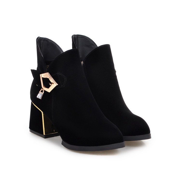 2016 Fashion New British Style Black Red Suede Pointed Toe Women's Leisure Shoes Online Boots Chunky Heel Ankle Booties