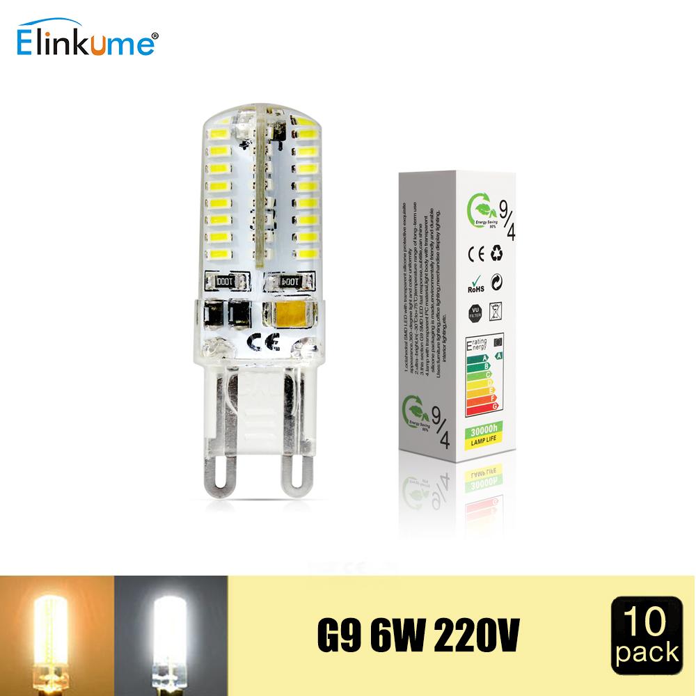 10PCS/LOT 220V 230V G9 6W Silicone COB 64LED Bulb SMD3014 LED Corn Bulb Lamp LED Spotlight for Crystal Lamp Warm Cold White(China (Mainland))