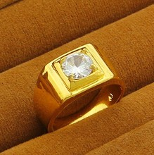YGP-R08  Men Jewelry 24K Yellow Gold Plated Crystal Ring 2013 New Arrival Wedding Rings Free Shipping(China (Mainland))